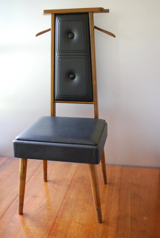 black plastic chair with wooden legs hanging debenhams vintage mens valet butler dressing solid wood medium
