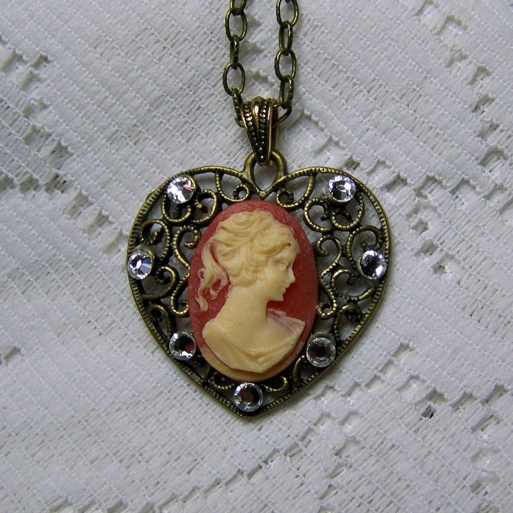 Vintage Heart Cameo Necklace Profile Cameo Rhinestones And