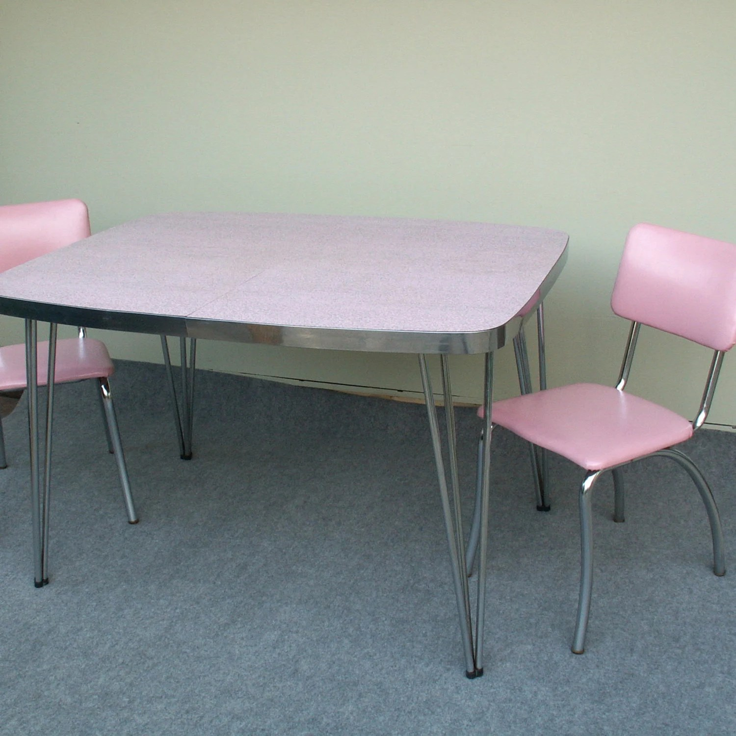 Formica Table And Chairs Vintage Pink And Gray Formica Table With Two Chairs