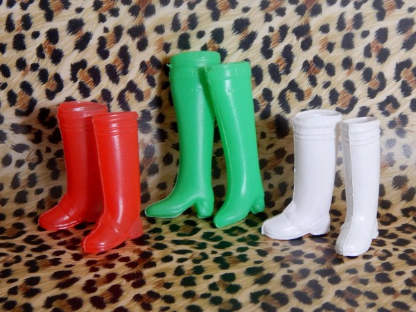 Vintage Barbie Doll Boots Red Green White