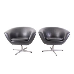 Swivel Pod Chair Casters For Antique Chairs Pair Of Vintage In Black Vinyl By