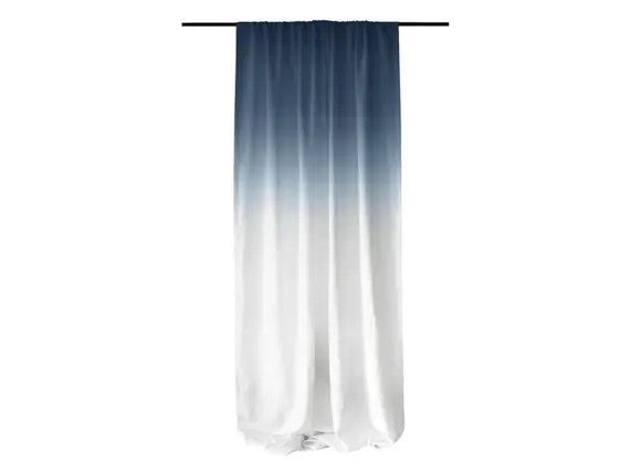 Window Curtains Ombrè Blue Fade To White Linen By