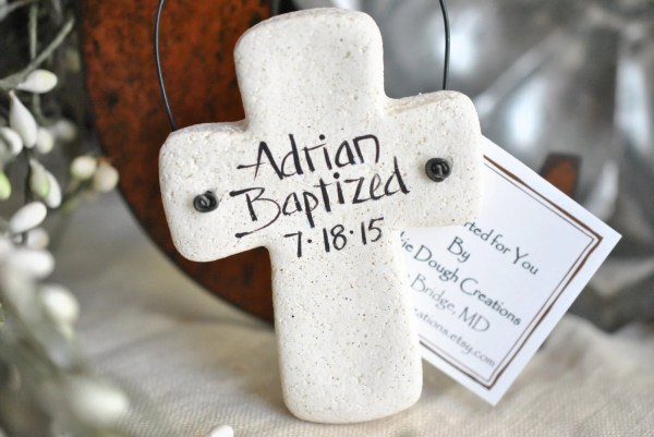 Personalized Cross Salt Dough Ornament Communion Baptism