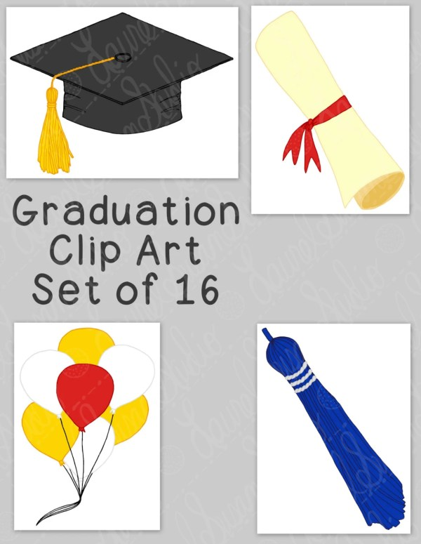 graduation clip art bundle mortarboard