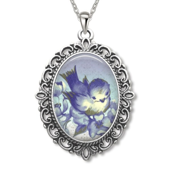 Cute Bluebird Oval Filigree Rope Edged Pendant Necklace Art