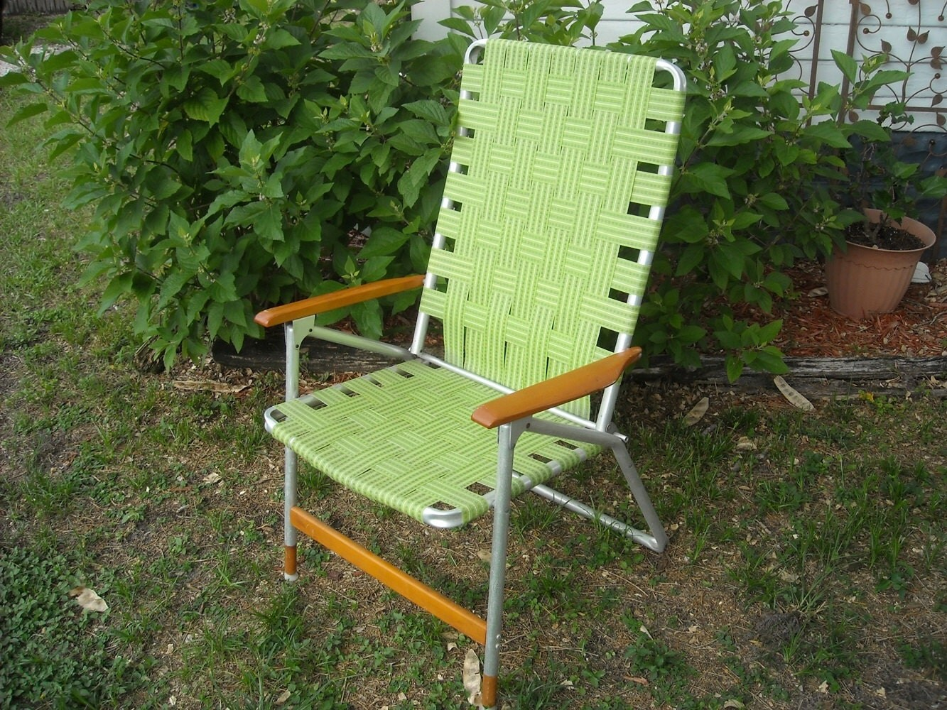 green lawn chairs folding bistro mid century chair retro by foxcreekvintage