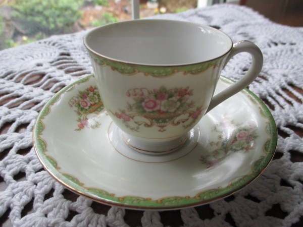 Antique Cherry China Demitasse Cup And Saucer Set