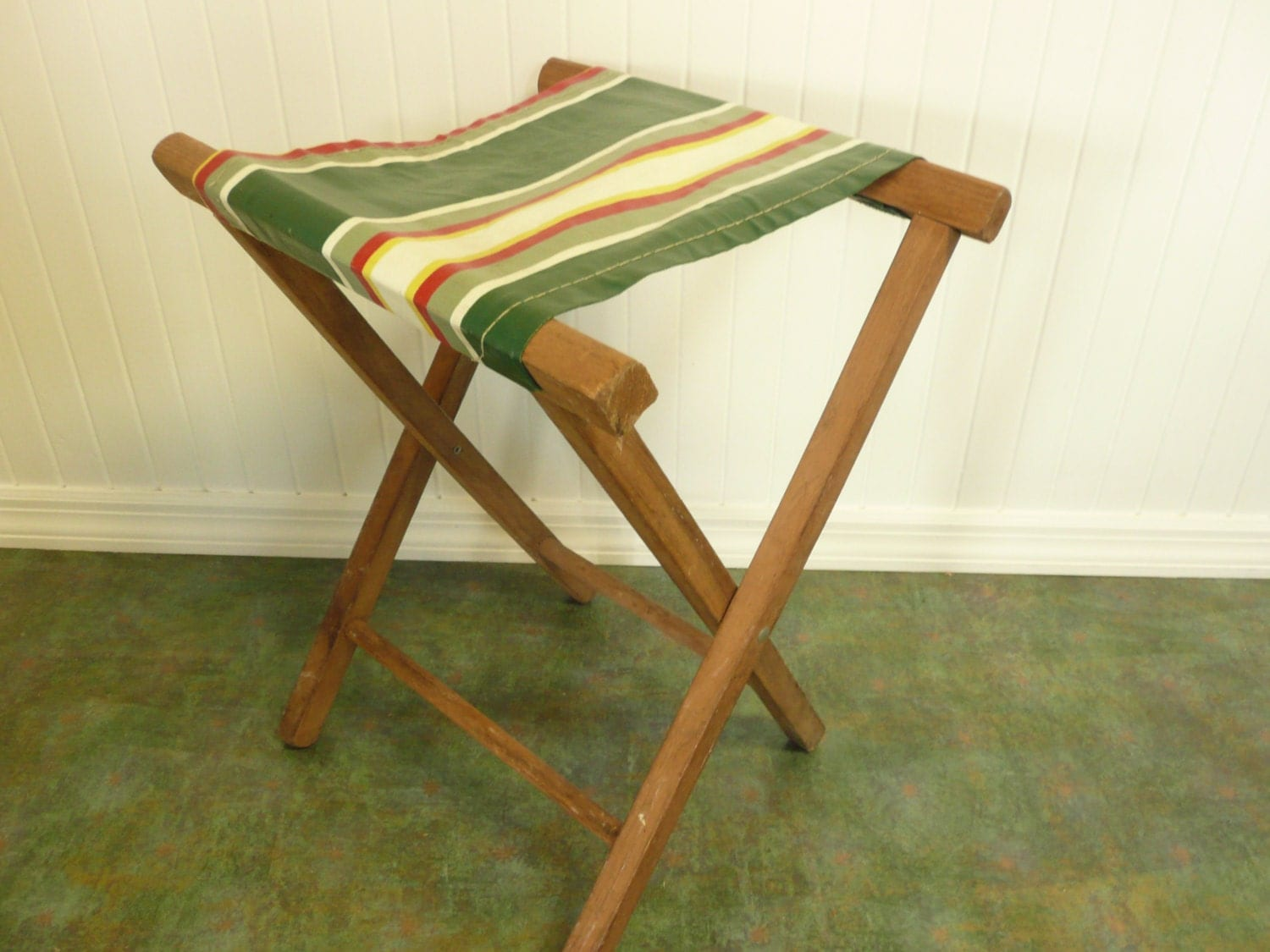 wood camp chair how much are gaming chairs vintage and striped vinyl camping fishing