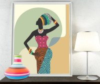 African Woman African Wall Art African Wall Decor Black