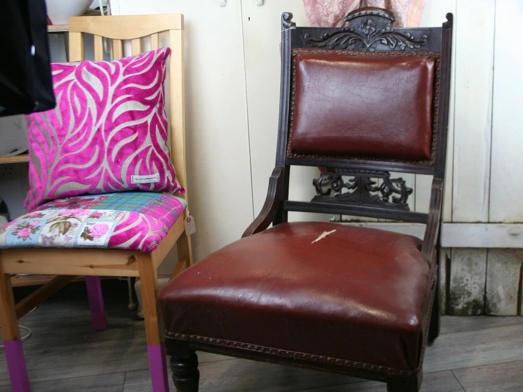 leather chair patch and half slipcover antique repair