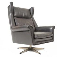 Black Leather Swivel Lounge Chair Jazzy Mobility Danish Mid Century Modern