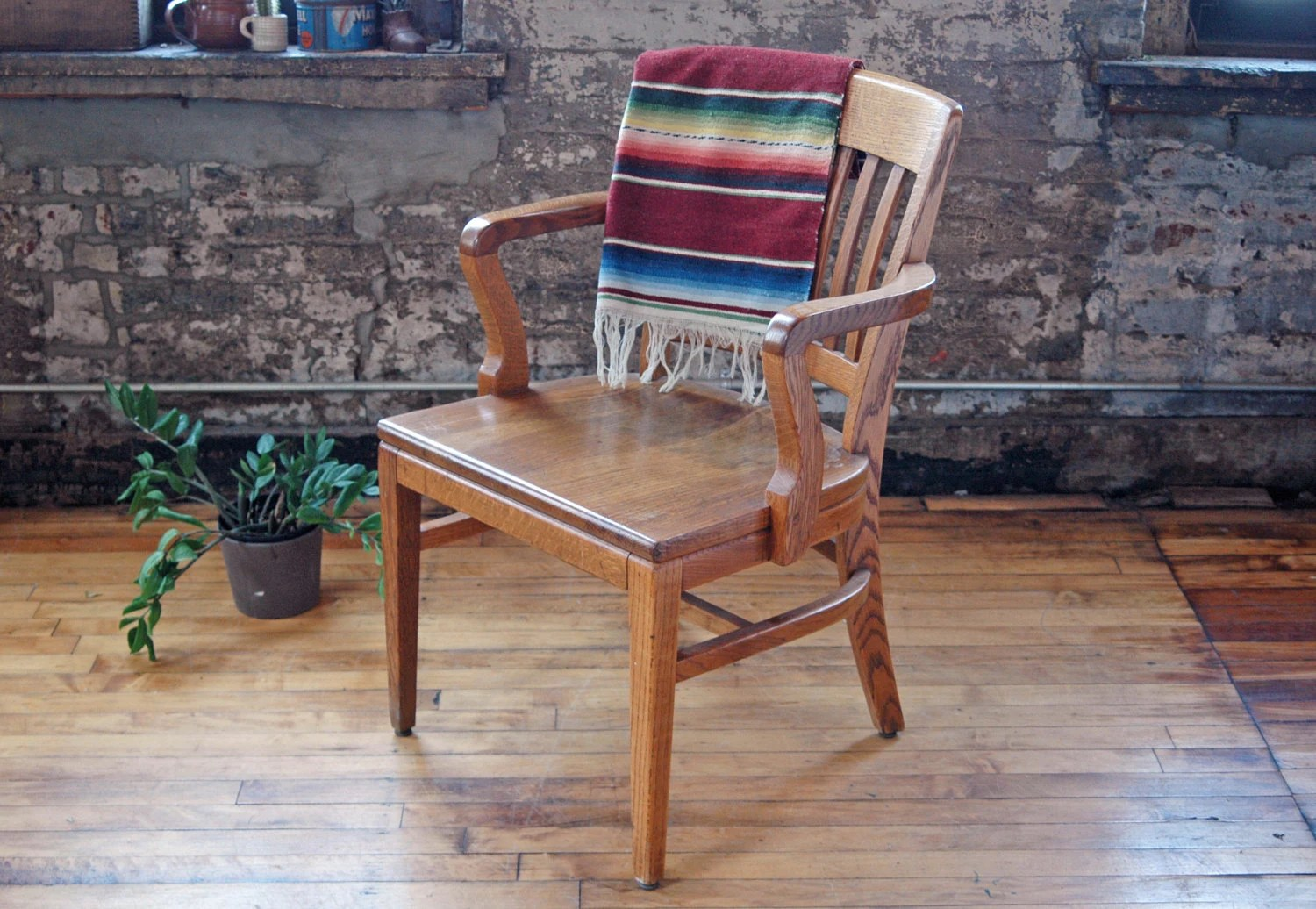 Wooden Bankers Chair Vintage Wooden Oak Library Chair Bankers Chair Wood Office Chair L