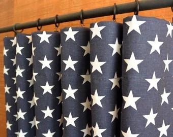 Navy Blue Curtains Etsy