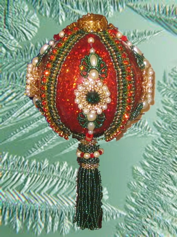 Beaded Christmas Ornament Kit Fantasy 2 Green With Red Trim