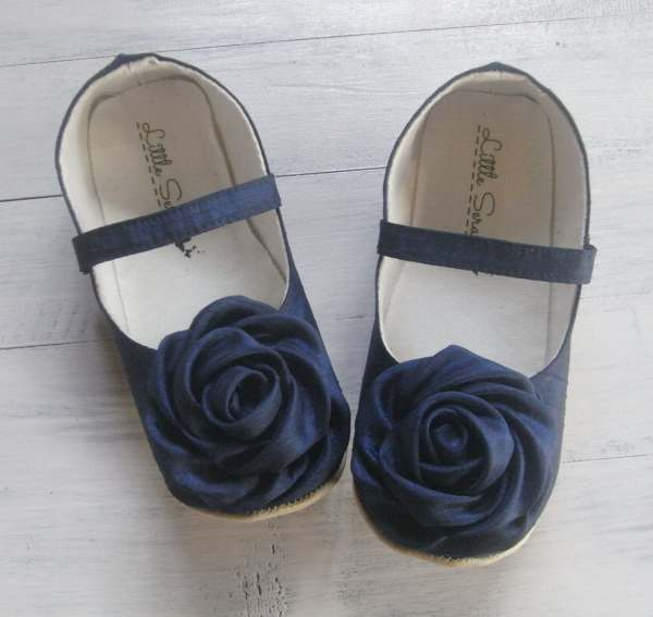 Navy Blue Baby Shoes Wedding Flower Girl Littleserah