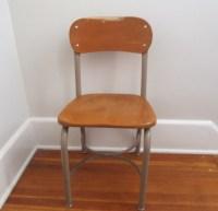 Vintage Wood School Chair Metal Adult Size 16.5