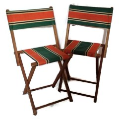Antique Folding Chair Wheelchair Dealers Child 39s Chairs Vintage Wood And Striped Canvas Set