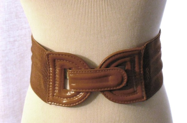 Brown Patent Leather Belt With Stretch Thick Vegan