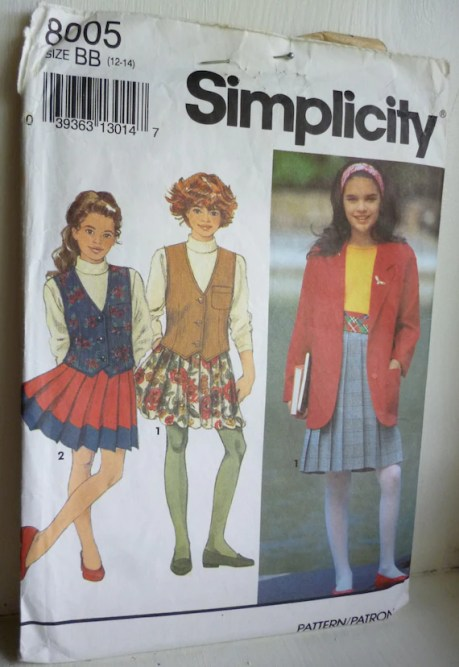 Simplicity 8005 Vintage sewing pattern for girls' jacket, vest and pleated skirt size 12-14 | Jungleland Vintage on Etsy