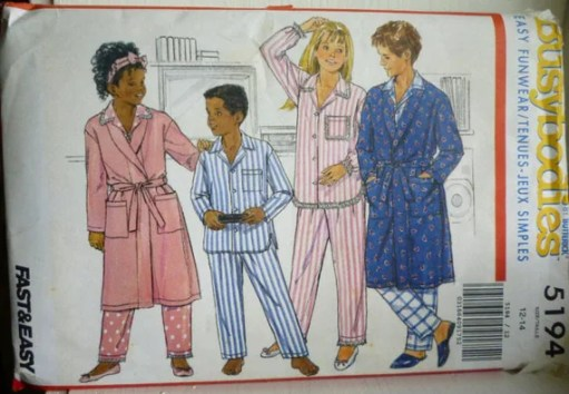 Butterick Busybodies 5194 - Boys and Girls Robe,Top and Pants - Pajamas - Size 12-14 | Jungleland Vintage on Etsy
