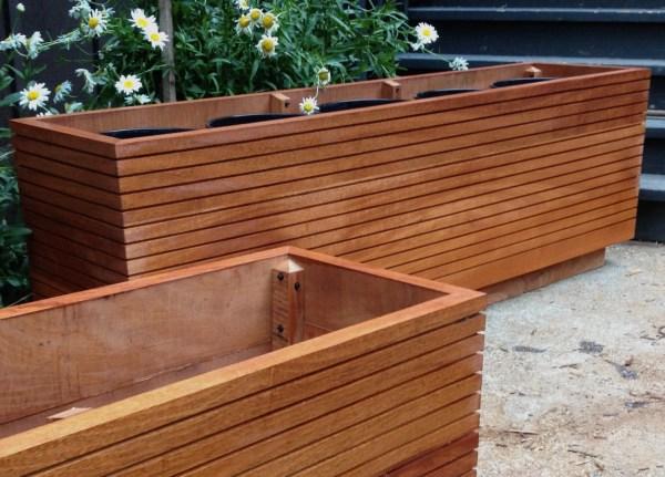 Tall Modern Mahogany Planter Boxes Mid Century Free