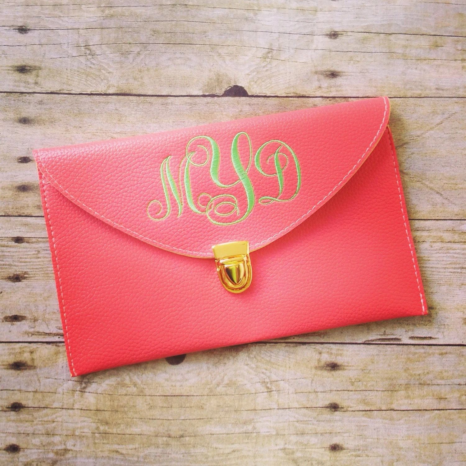 monogrammed leather clutch purse