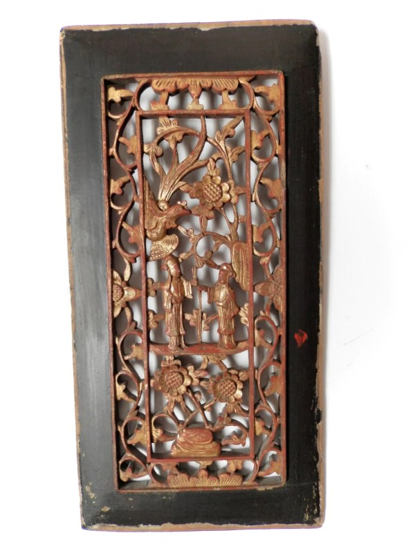 Antique Chinese Carved Wood Panel. .1800. Asian Art. Vintage