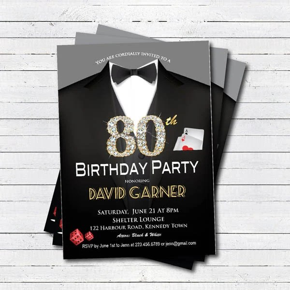 Casino 80th Birthday Invitation Adult Man Birthday By