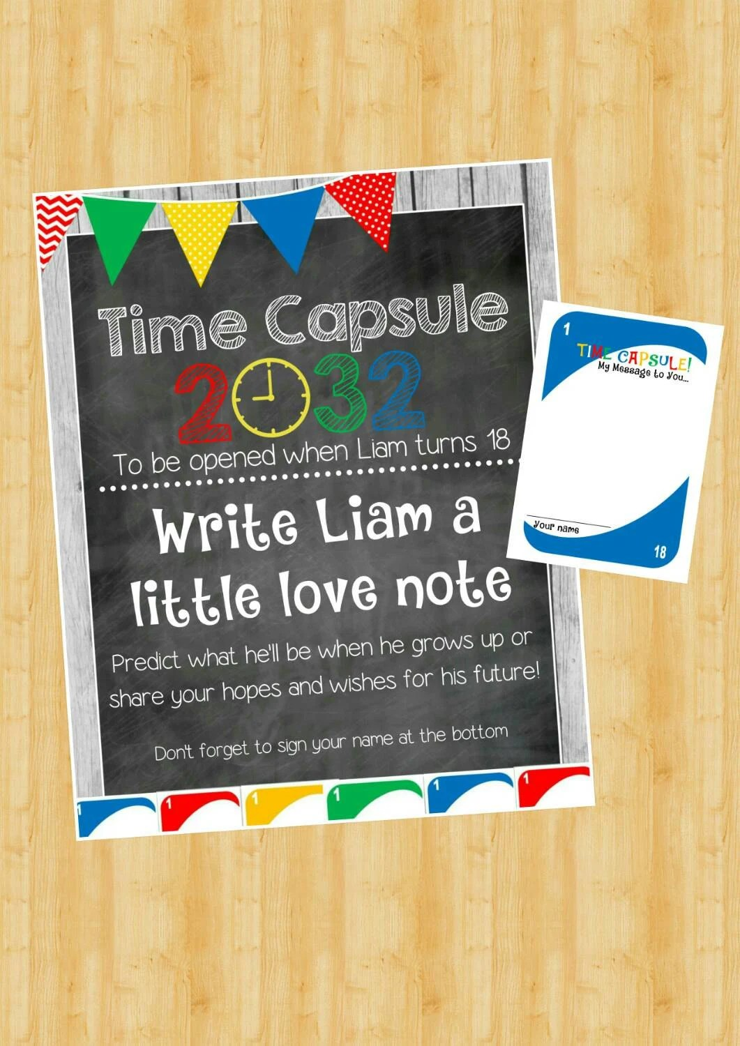Uno Time Capsule Sign And Note Cards 1st Birthday Diy