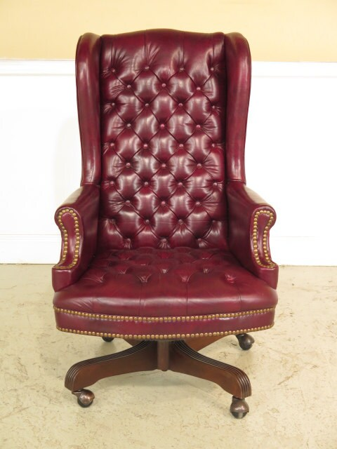 37903E Burgundy Tufted Leather Swivel Desk Chair Haute Juice