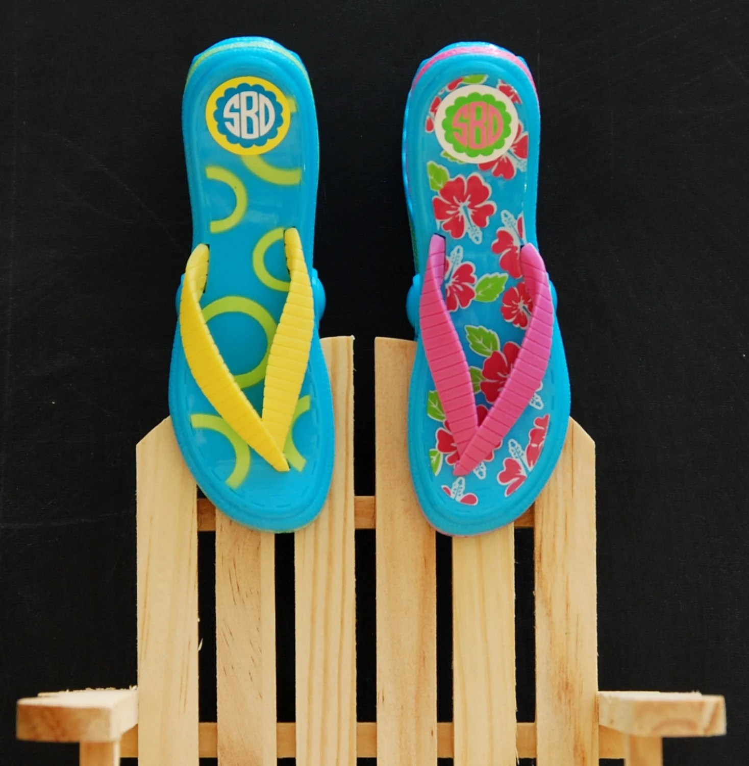 Beach Chair Clips Flip Flop Beach Towel Clips Monogrammed Set By