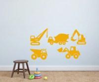 Construction Vehicles Vinyl Wall Decals - Construction ...