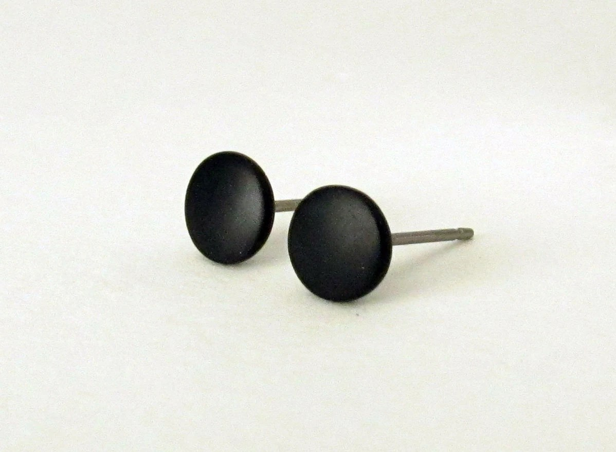 Black studs matte black earrings mens stud earrings round