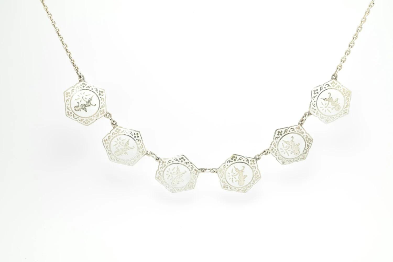 Vintage Siam Necklace Sterling Silver White Enamel Niello