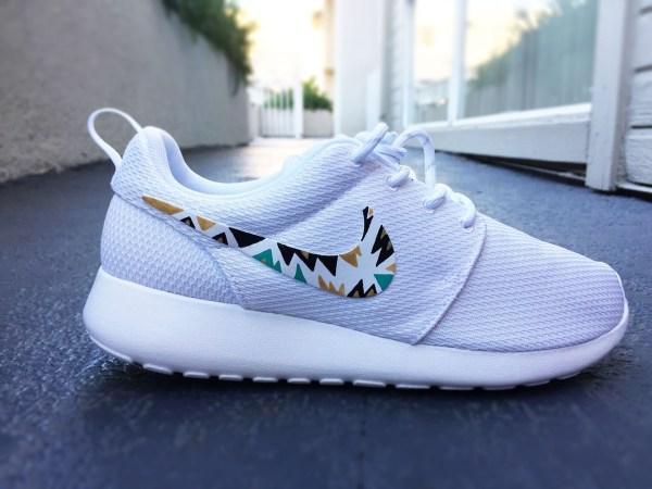 Custom Nike Roshe Run Sneakers Women White Black