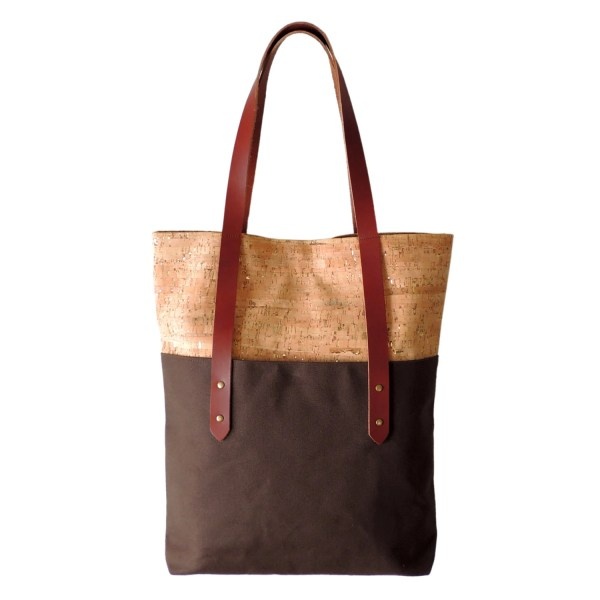 Large Brown Tote Bag Cork Canvas And Leather
