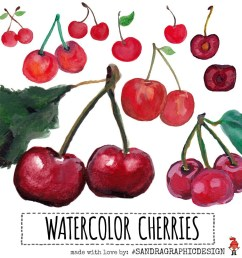 cherry clip art with hand painted watercolor cherries delicious fruit clip art images 813  [ 1000 x 1000 Pixel ]