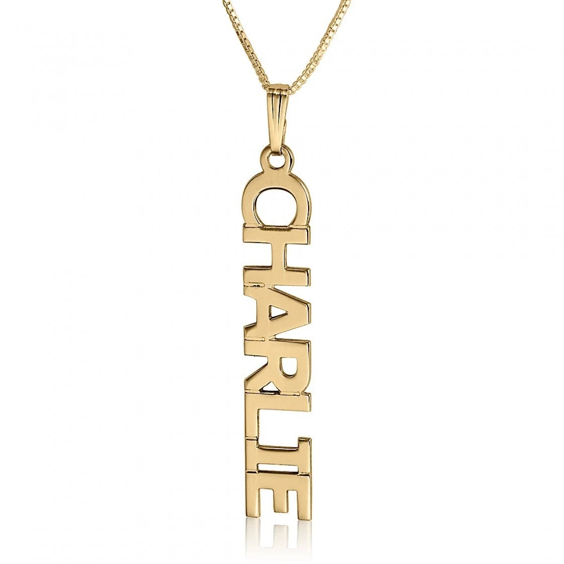 Vertical Name Necklace Gold Plated Name Pendant Necklace Name