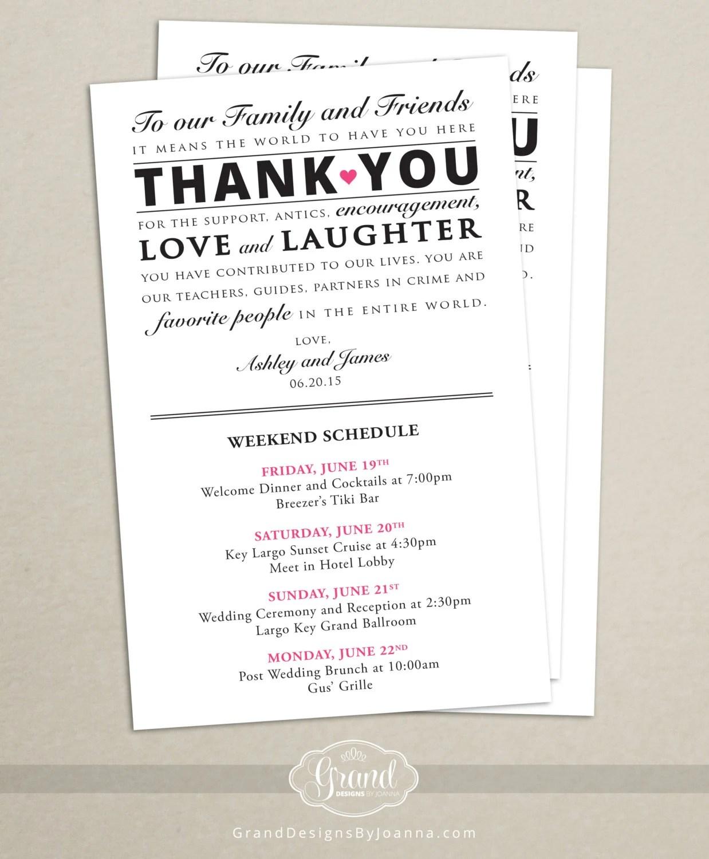 Wedding ItinerarySchedule Wedding Weekend ActivitiesEvents