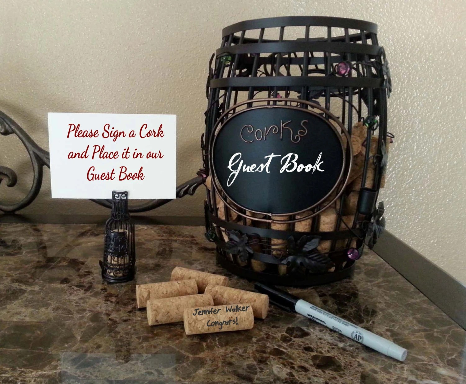 Winery Wedding Guest Book Sign A Cork Guest By