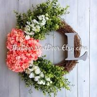 Front Door Summer Wreath Hydrangea Wreath with Monogram