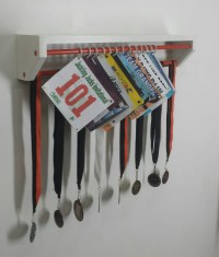 Trendy Running display for race bibs and medals-white and