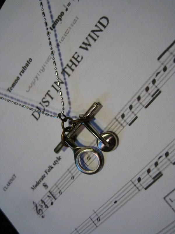 Clarinet Instrument Necklace Musical Key Pendant Vintage Band