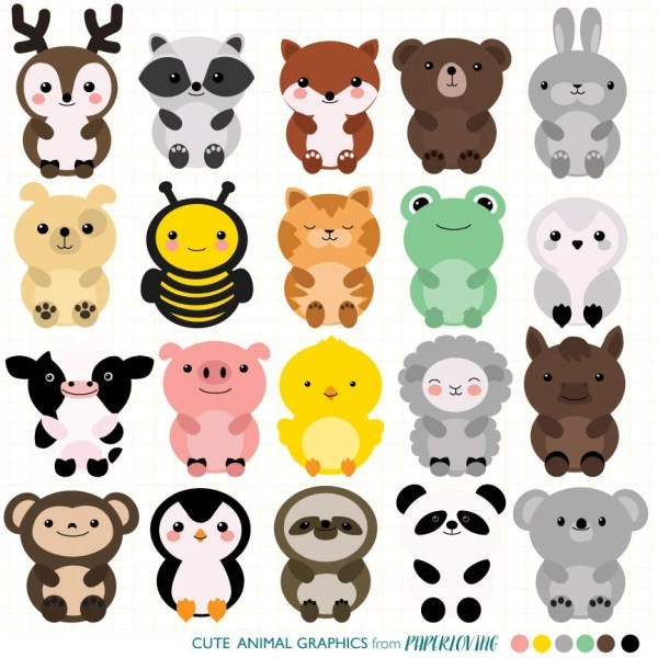 cute animal clipart set mega-pack