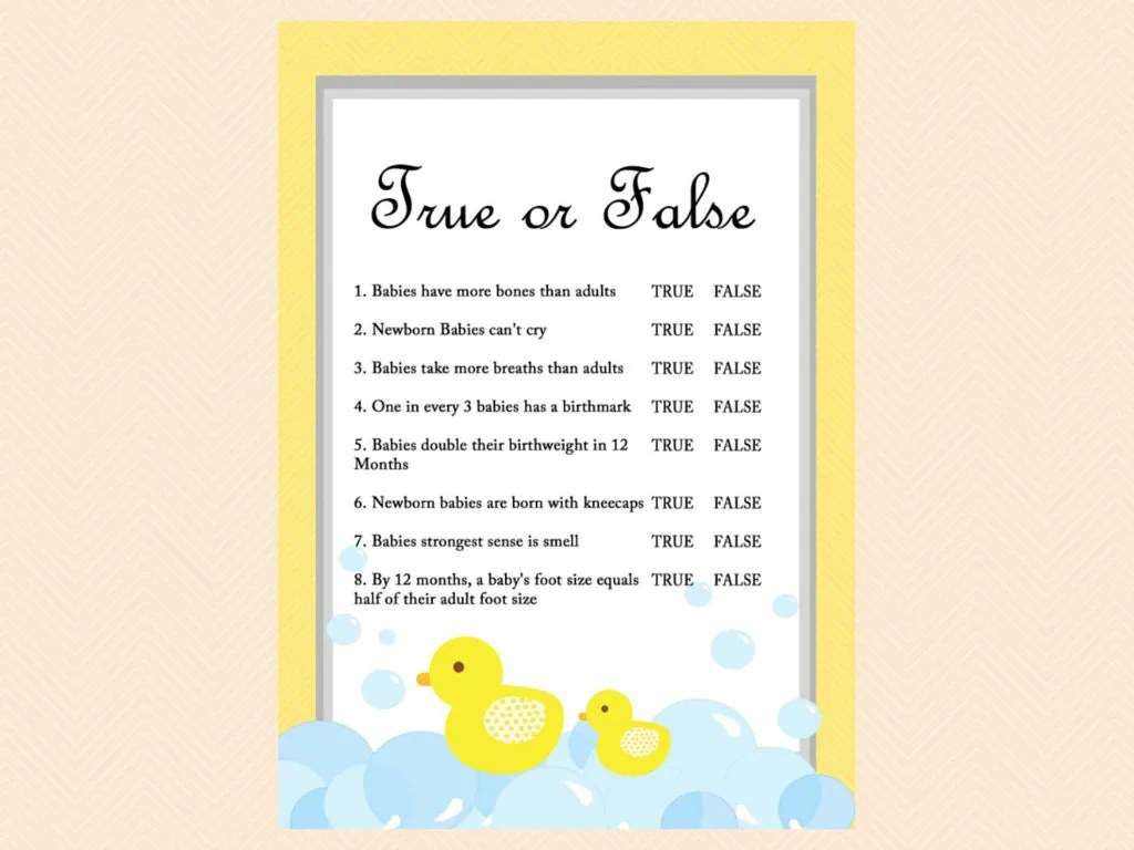 True Or False Baby Questions Baby Trivia Duck Theme Rubber