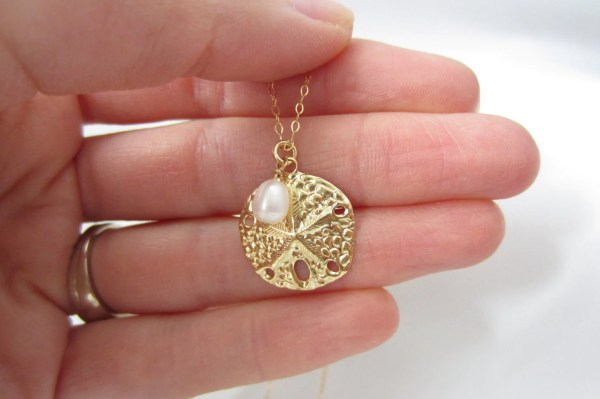 Beach Jewelry Sand Dollar Necklace 14k Gold Fill