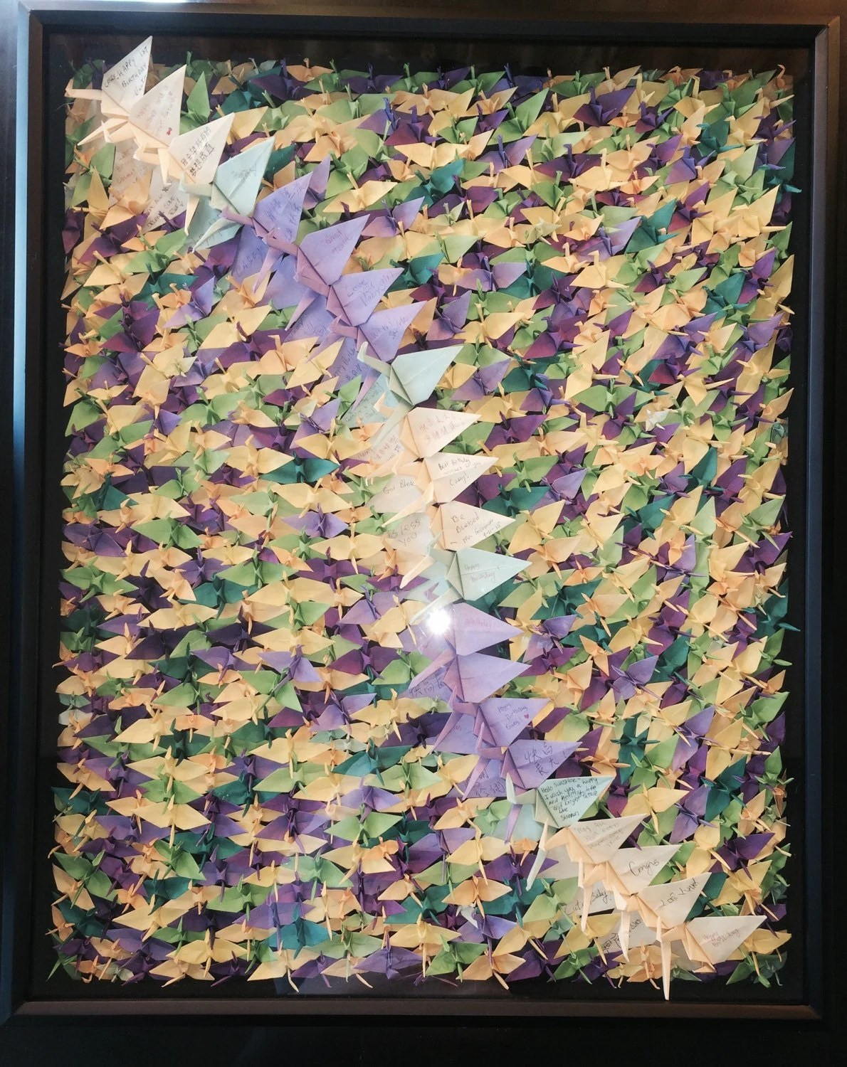 1000 origami cranes art in glass frame by OrigamiByWingy on Etsy