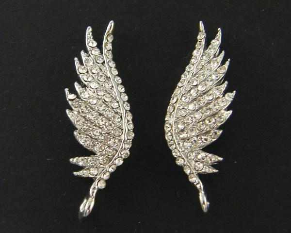 Wing Earrings Findings Clear Rhinestone Silver Angel Post