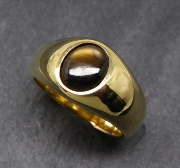 Aaa Golden Black Star Sapphire 10x8mm 6.36 Carats