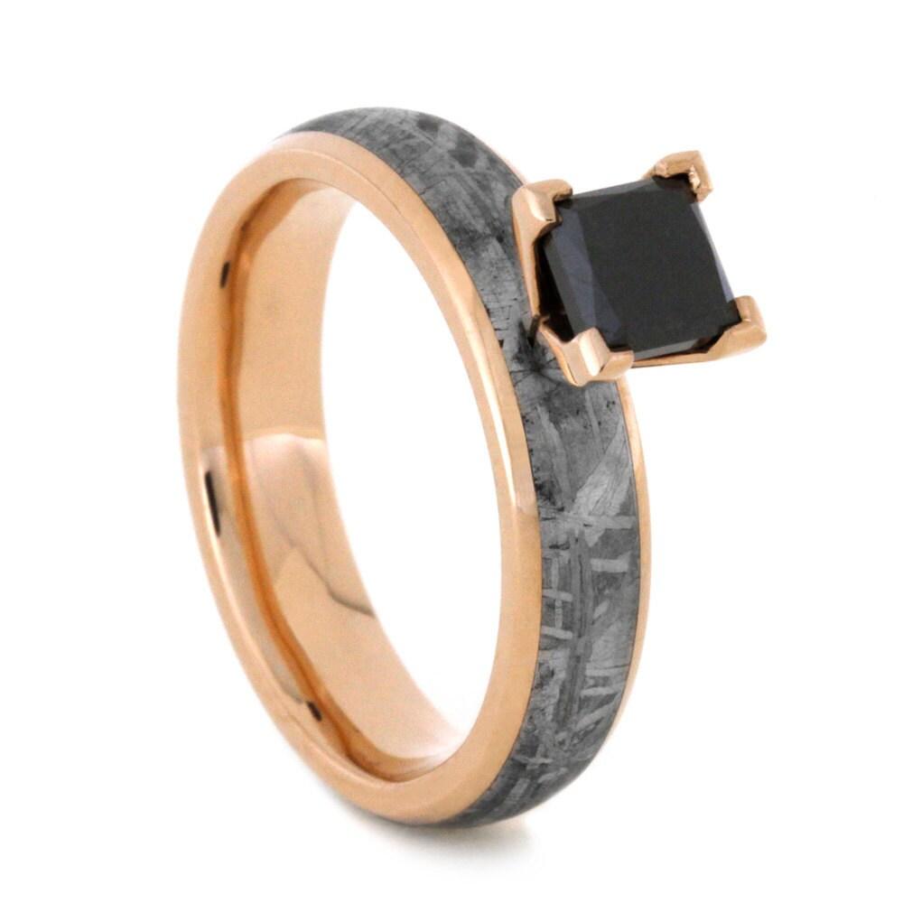 Meteorite Ring Princess Cut Black Diamond Ring by jewelrybyjohan